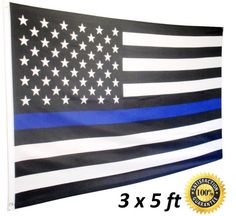 Thin Blue Line Flag USA 5 x 3 FT Full Size Police Flag For Men And Women Of L...