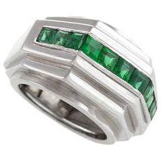 Boucheron Art Deco Emerald Platinum Ring