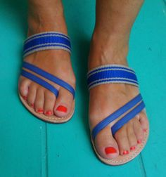 Greek Leather Sandals Handmade Royal Blue by Ammos on Etsy, $57.00