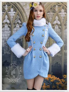 double-breasted wool fur collar coat