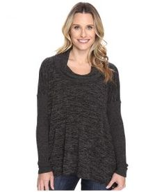 Mod-o-doc Heather Sweater w/ Rib Long Sleeve Cowl Neck Pullover (Black Heather) Women's Clothing