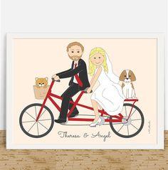 Fun tandem bike wedding custom portrait, wedding portrait of bride and groom in scooter with sidecard. A beautiful one of a kind wedding keepsake