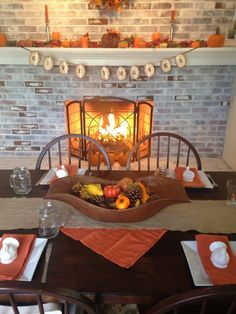 Whitewashed fireplace // thanksgiving // fall // autumn