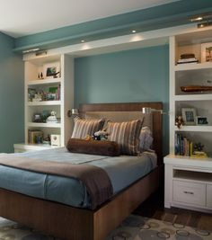 Beautiful Bedroom Organization Idea. Love The Lights Above Bed Also!