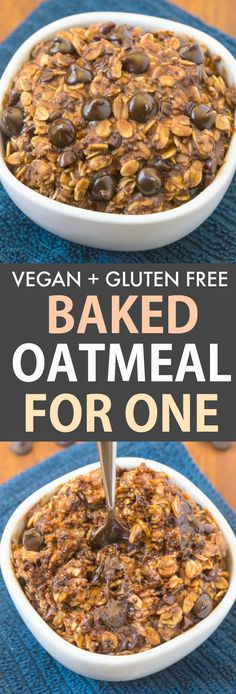 Healthy Baked Oatmeal Recipe is the BEST quick and easy vegan and gluten free breakfast which can be made overnight in the oven or in the microwave oatmeal bakedoatmeal vegan glutenfree mealprep oats thebigmansworld Healthy Cupcake Recipes, Healthy Oatmeal Recipes, Oats Recipes, Healthy Muffins, Good Healthy Recipes, Healthy Baking, Gluten Free Recipes, Baking Recipes, Vegan Recipes