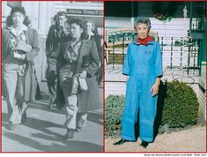 Edith Juarez Rodriguez was a riveter for Boeing Aircraft in Wichita, KS during the war. She is seen here walking down the street with a coworker, circa 1944, and in 2006 showing pride for her work toward the war effort--and still fits in the uniform! ~