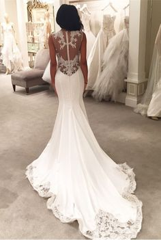 $189-Lace Mermaid Wedding Dresses Sheer Back Buttons Lace Trim Elegant Bridal Gowns