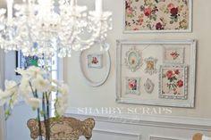 dining room-vintage wallpaper in frames