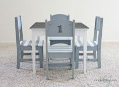 gray horse and white paint, chalkboard top for table and chairs? love the striped seats!