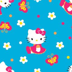 """Springs Creative Hello Kitty Butterflies And Flowers 43"""" wide Fabric by the Yard"""