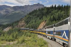 The Alaskan Railroad carrying the McKinley Express into Denali for Princess and HOlland America.