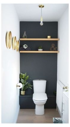 Blue Shelves, Wooden Shelves, Bathroom Plants, Bathroom Ideas, Bathroom Remodeling, Remodeling Ideas, Remodel Bathroom, Design Bathroom, Bathroom Inspiration