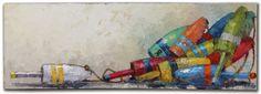 """Lazy Buoys"" by Trip Park. 24"" x 72"" Acrylic & Mixed Media.  *SOLD* www.maine-art.com"