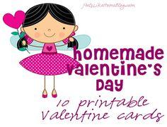 Homemade Valentine's Day - Printable Valentine Cards