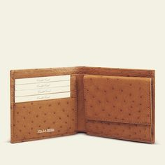 105a44e8c116 Men's genuine ostrich leather wallet. Crafted in full quill with coin  pocket Leather Wallet,
