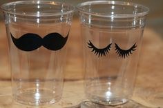 12 Eyelash sets + 12 Mustache 10,12 or 16 oz. clear disposable cup. Baby Shower, Gender reveal, Birthday party, Staches or lashes.B-30 C-99
