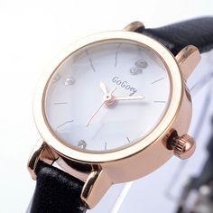 mini ladies watches top luxury brand GoGoey ultra thin rhinestone Crystal designer black clock women leather Quartz Watch //Price: $2 & FREE Shipping //