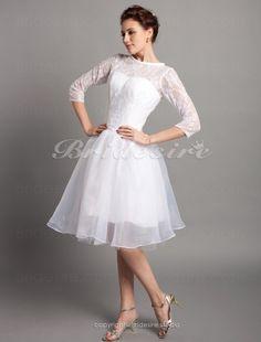 A-line Satin Knee-length Bateau Wedding Dress - $99.99