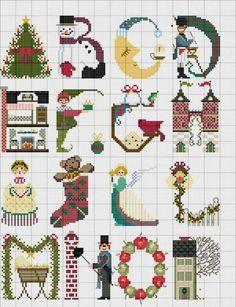 100%_ponto_cruz #cross-stitch #Christmas Themed Alphabet #abc's