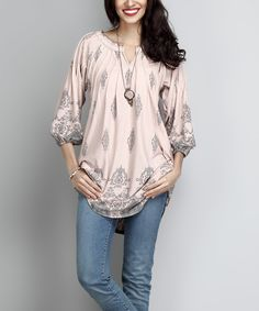 Take a look at this Light Pink Damask Notch Neck Tunic today!