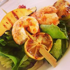 Peach salad shrimp