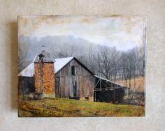 Encaustic photograph  Clarence's Barn by EncausticsbyGretchen