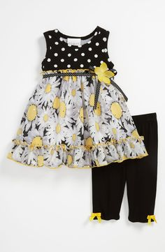 Free shipping and returns on Iris & Ivy 'Daisy' Dress & Leggings (Baby) at Nordstrom.com. Sequins sparkle atop the daisy-patterned skirt illuminating a playful sleeveless dress matched with elastic-waistband leggings.