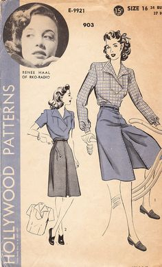 1940s Hollywood Pattern No 903. misses' tuck-in blouse with inset shirt-bosom front and shaped collar and a culotte-skirt.