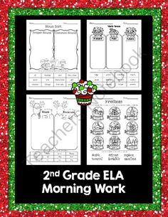 Christmas Language Arts morning work (nouns, verb tense, & prefixes) from Mrs. Pritchett's Printables on TeachersNotebook.com (4 pages) - Christmas Language Arts morning work. A fun way to address: verb tense, common nouns, proper nouns, prefixes, & pronouns. 4 great activity sheets!