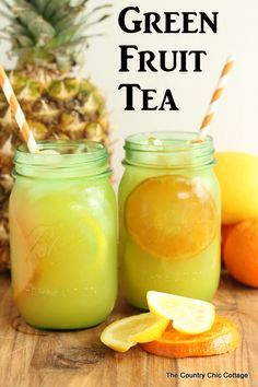 Green Fruit Tea -- amazing recipe for green tea with citrus.<br> Amazing recipe for green fruit tea that you will love! Take a new spin on the classic fruit tea by using green tea instead. Fruit Tea Recipes, Green Tea Recipes, Iced Tea Recipes, Detox Recipes, Juice Recipes, Refreshing Drinks, Summer Drinks, Fun Drinks, Healthy Drinks