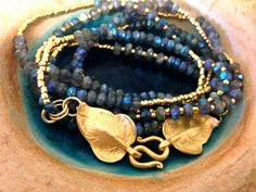 Wrap Bracelet/Necklace combination-Long faceted Labradorite with 24k gold glass beads and 24k over silver/Vermeil leaves clasp
