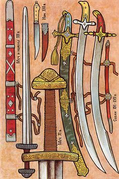 """From the cutting and splitting weapon in Russia were disseminated the swords, knives and sabres. Sword consisted of the broad, sharp from two sides band, i.e., blade, and of kryzha - the handle, whose parts were named: apple, cheren and flint. Each flat side of blade was called """"golomen'"""", or """"golomya"""", and point - by """"blades"""""""