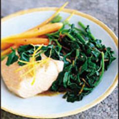 Food and Wine chooses a simple wilted watercress, much like spinach, as a side dish for salmon. Recipe found at www.edamam.com