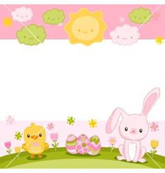 Happy easter background with cartoon cute bunny vector by kostolom3000 on VectorStock®