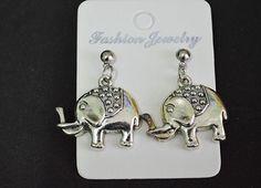 Elephant silver stud earrings fashion woman earrings #Handmade #Stud