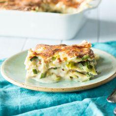 Pesto-Lasagne mit Kartoffeln und Bohnen