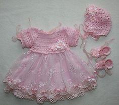 Handmade vintage crochet set for reborn, ooak baby doll Baby Girl Crochet, Crochet Baby Clothes, Crochet For Kids, Knit Crochet, Baby Girl Dresses, Baby Dress, Dress Set, Robes Tutu, Kids Tutu