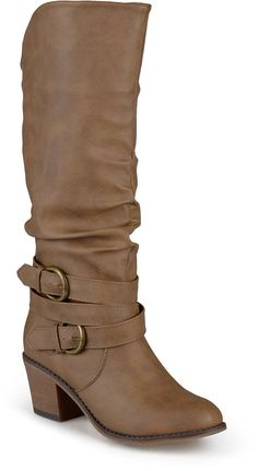 Journee Collection Women's Buckle Slouch High Heel Boots * Remarkable product available now. : Boots Shoes