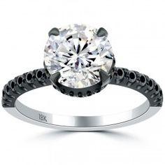 2.80 Carat H-VS2 Certified Natural Round Diamond Engagement Ring 18k Black Gold....my favorite