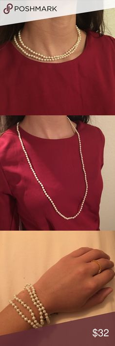 New j crew pearl layering necklace/bracelet New with tags j crew pearl necklace can be layered, worn as single, or a bracelet. J. Crew Jewelry Necklaces
