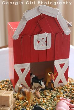 I really love a traditional, all American, big red barn! Even though we don& have red barns as part of our South African landscape, L. Popsicle Stick Crafts, Popsicle Sticks, Craft Stick Crafts, Toddler Crafts, Crafts For Kids, Big Red Barn, Barn Wood Crafts, Pop Stick, Farm Theme