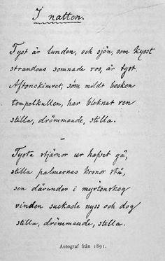 "Autograf av ""I natten"", en av Rydbergs senare dikter, 1891."