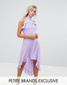 John Zack Petite Wrap Ruffle Detail High Neck Midi Dress