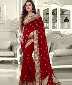 Buy Maroon Faux Georgette Saree With Blouse 75590 with blouse online at lowest…