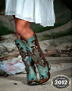 Aqua and brown boots