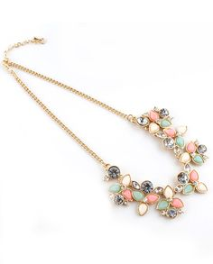 Pink Gemstone Gold Leaves Chain Necklace - Sheinside.com