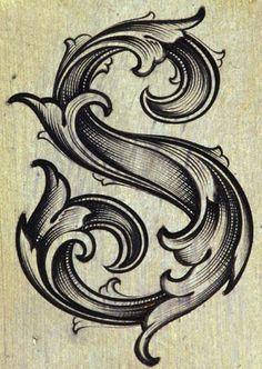 typography S  vintage  ornate