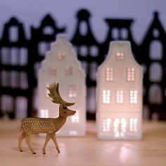 happy happy joy joy deer and mini houses with lights