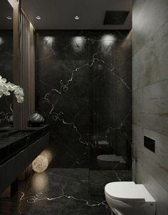Find Out More On Incredible Showers DIY – Marble Bathroom Dreams Bathroom Design Luxury, Modern Bathroom, Home Interior Design, Small Bathroom, Bathroom Showers, Black Marble Bathroom, Bathroom Ideas, Feminine Apartment, Toilet Design