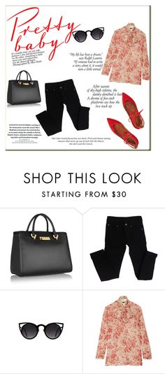 """Wear it in red"" by alexandra-barbu-1 ❤ liked on Polyvore featuring ZAC Zac Posen, Cheap Monday, Quay, Gucci, Aquazzura and H&M"